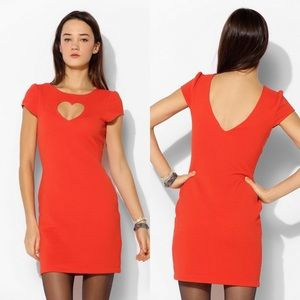 UO Cooperative Red Heart Cutout Textured Dress Sm